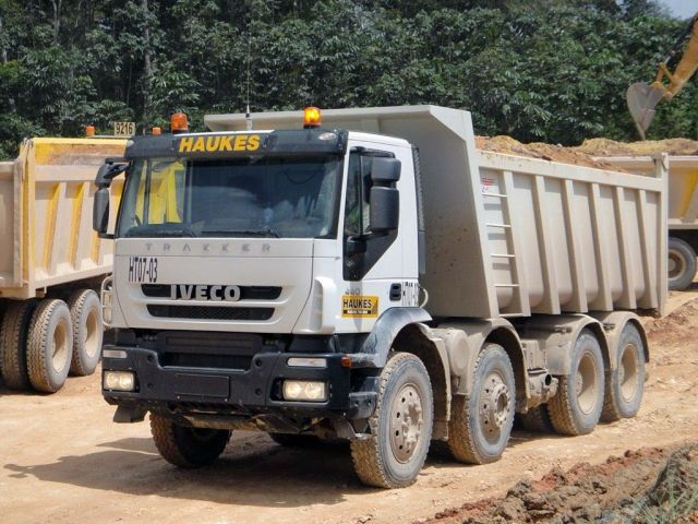 pk trucks vehicles at work for HAUKES in Suriname