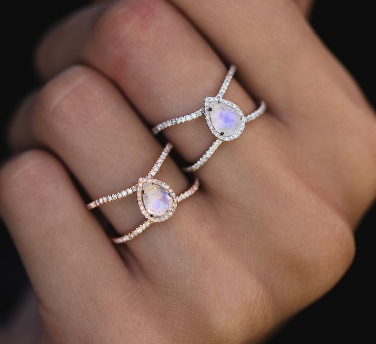14kt white gold and diamond Double Band Teardrop Moonstone ring – Luna Skye by Samantha Conn