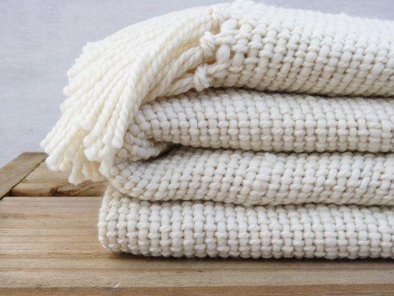 chunky ecru organic merino wool blanket.