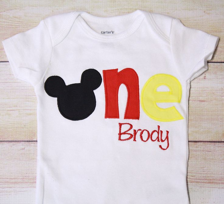 """Mickey Mouse Inspired """"One"""" Shirt for 1st Birthdays Boy"""