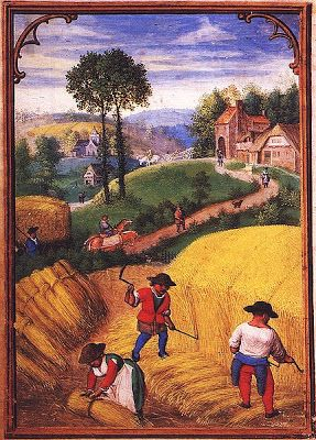 August -  from 'The Labours of the Months' (a Flemish Book of Hours) - Simon Bening - early C16 - ?