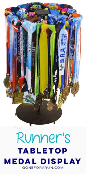 Our Gone For a Run exclusive running medal display turns your race medals into a work of art. Create a race medal display that is guaranteed to get a lot of WOWs, exclusively from Gone For a Run