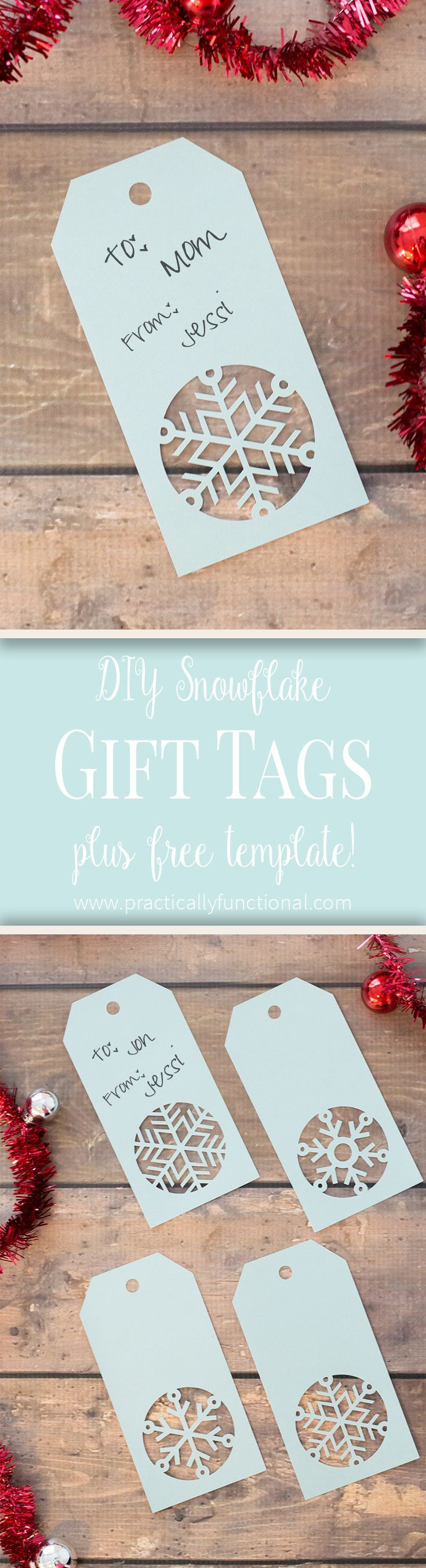 Love these handmade snowflake Christmas gift tags! Get the free cuttable file or free printable PDF template here!