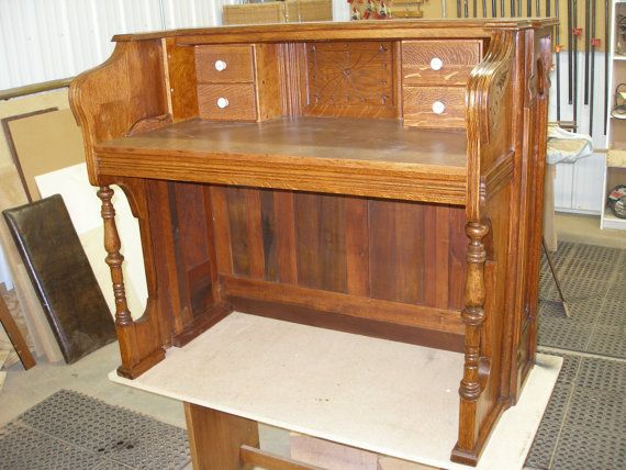 Repurposed..Piano... Upcycled... 1890s Story and Clark Pump Organ Writing Desk...Oak...One of a Kind