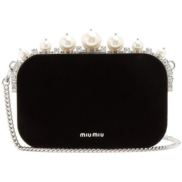Miu Miu Pearl and crystal-embellished velvet clutch ($2,510) ❤ liked on Polyvore featuring bags, handbags, clutches, purses, black, pearl purse, miu miu handbags, embellished handbags, velvet handbag and bow handbags