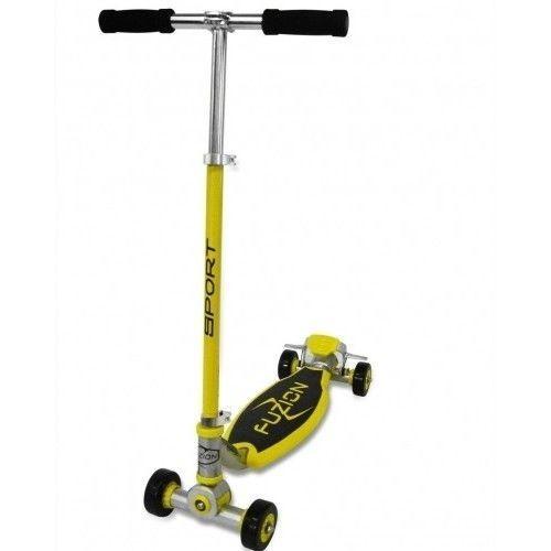 Fuzion Beginner Scooter 4-Wheel Sport Kick Wide Deck Ride Kids Outdoor - Yellow #Fuzion