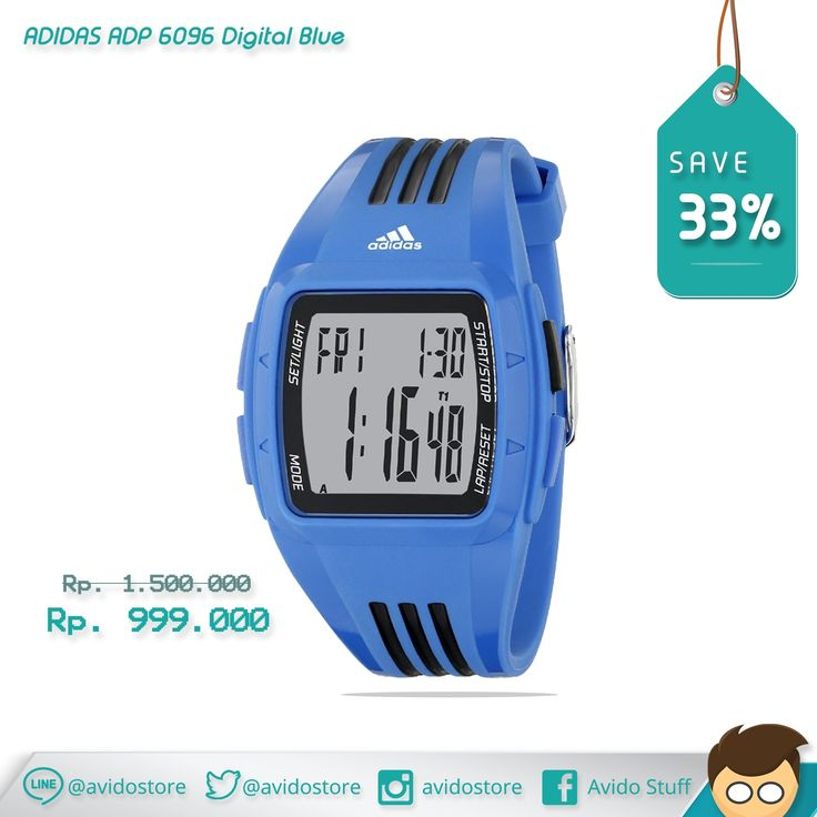 Information about Adidas ADP 6096 Digital Blue Watch Original :  A bold blue case and strap, black 3-stripes and a positive digit display deliver a vibrant aesthetic to the classic Duramo.  Case Size approx : 42 mm Case Thickness approx : 13 mm Band Width approx : 20 mm Water Resistant : 5 ATM Case Material : Plastic/Resin Strap type : Plastic/Resin