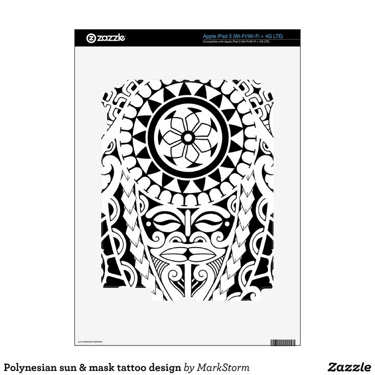Polynesian sun & mask tattoo design iPad 3 decal
