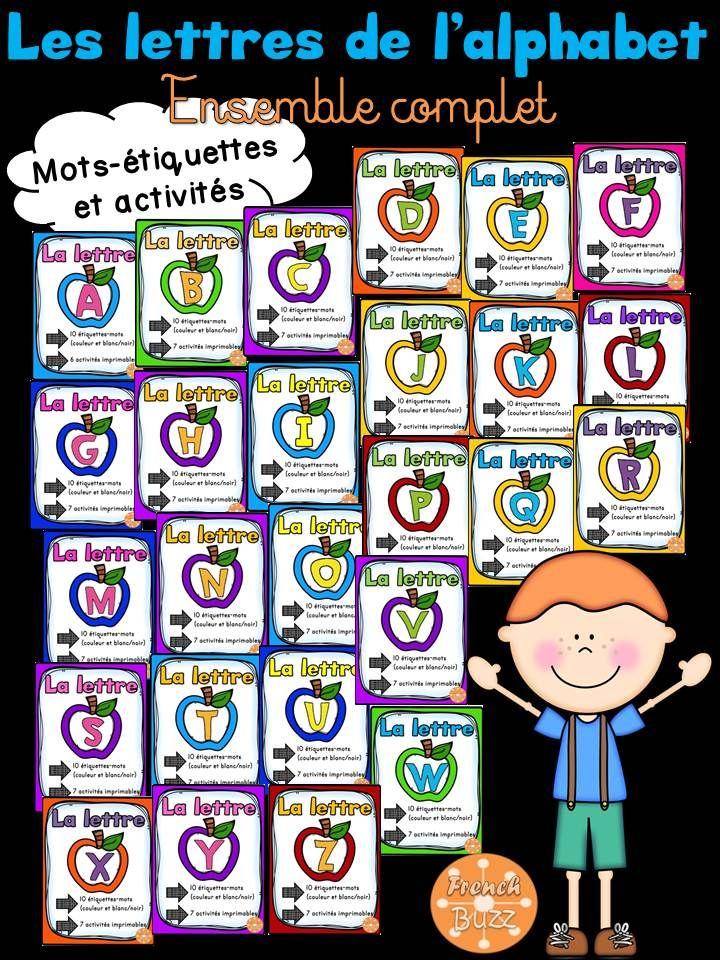 Ensemble complet - 26 documents avec des mots-étiquettes et des activités sur toutes les lettres de l'alphabet.