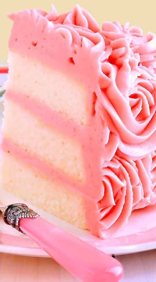 White Velvet Layer Cake with Strawberry-Raspberry Mascarpone Buttercream: Moist, tender white cake, spectacular frosting