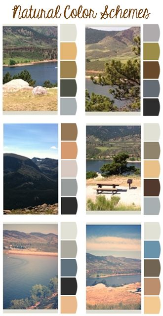Natural color schemes, paint palettes, inspired by Colorado mountains. Gray, beige, brown, greige rooms with accents inspired by nature. Rocks, green hills, lake -- home decor
