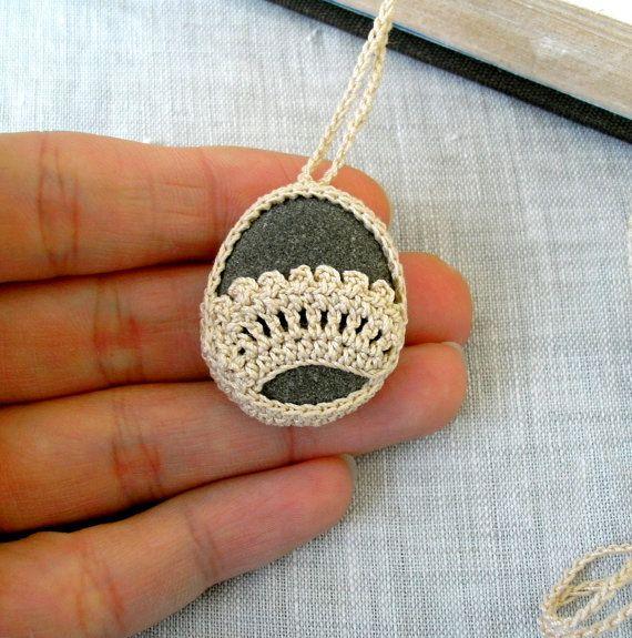 Crochet Stone Necklace - Crochet Jewelry - Lace Stone Necklace - Beach Stone Lacy Pendant - Beach Wedding Necklace. $20.00, via Etsy.