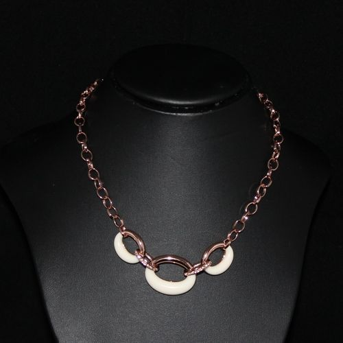 Rose Gold Necklace With Resin Circles And Crystal