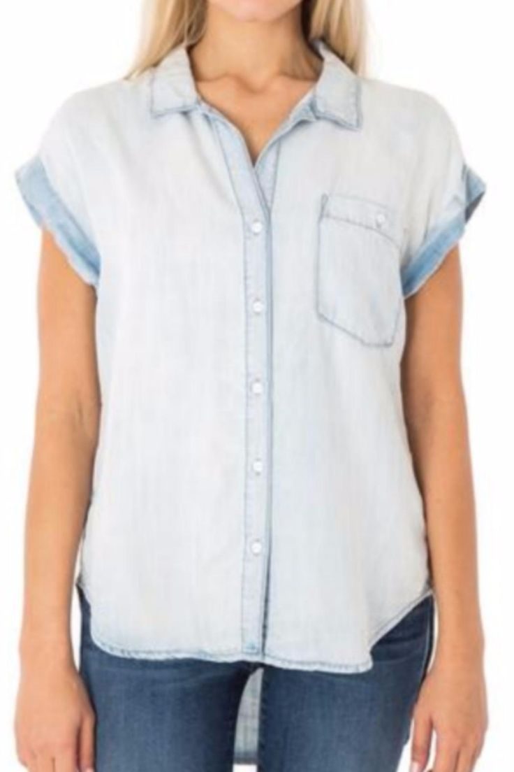"This is the softest and most versatile denim top you'll own! Pair with your favorite denim cutoffs for an of-the-moment denim on denim look or wear over one of our floral dresses tied at the waist. Model is 5'7"" and is wearing a size S.    Milly Chambray Top by Sneak Peek. Clothing - Tops - Short Sleeve Florida"