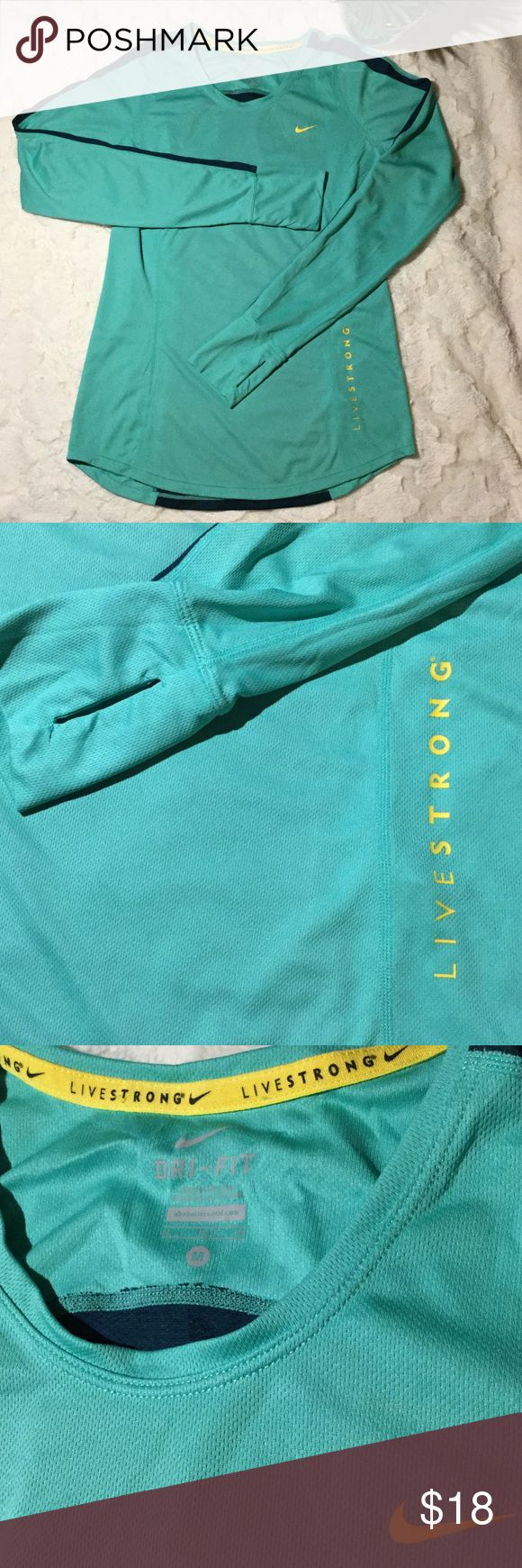 EUC Nike Livestrong Dri-Fit Long Sleeve Mesh Top,M Excellent used condition. No rips, tears or stains. Nike Livestrong Women M Dri-fit Long Sleeve Seafoam Green/Yellow Mesh top.  Contrasting navy blue down sleeves & on the back. Thumb holes. 18' pit to pit. 100% polyester. Nike Tops Tees - Long Sleeve
