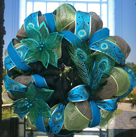 Glittered Peacock Turquoise deco mesh Wreath by DzinerDoorz, $90.00