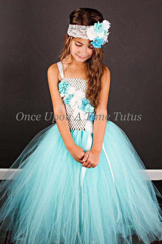 Aqua Blue Flower Girl Tutu Dress-Aqua Blue Tutu Dress-Aqua Girl Tutu Dress-Flower Girl Tutu Dress-Wedding Tutu Dress