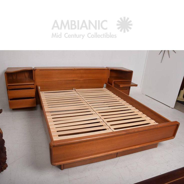 Danish Modern Teak Platform Bed Queen Size With Nightstands