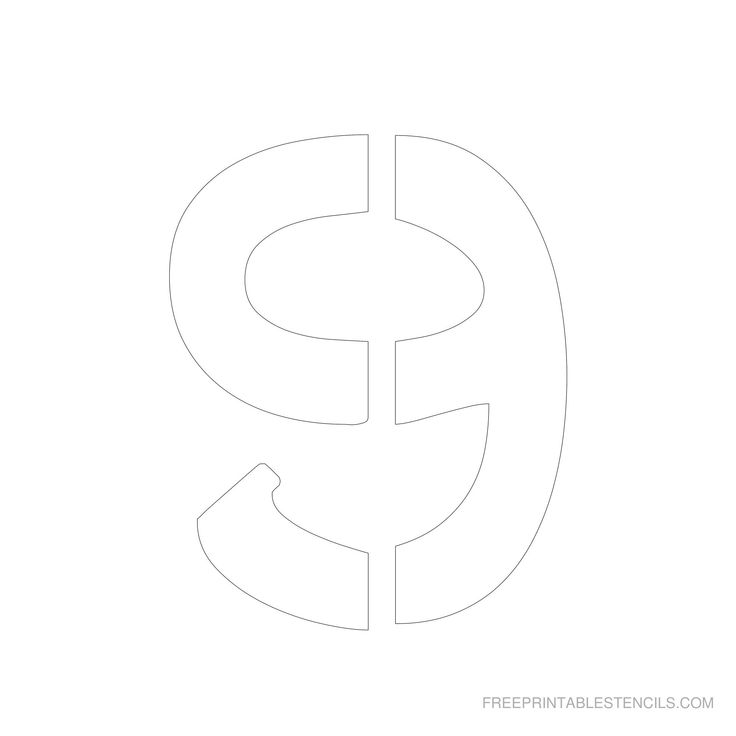 Printable 6 inch Number Stencil 9 | Number stencils ... Old English Numbers Printable