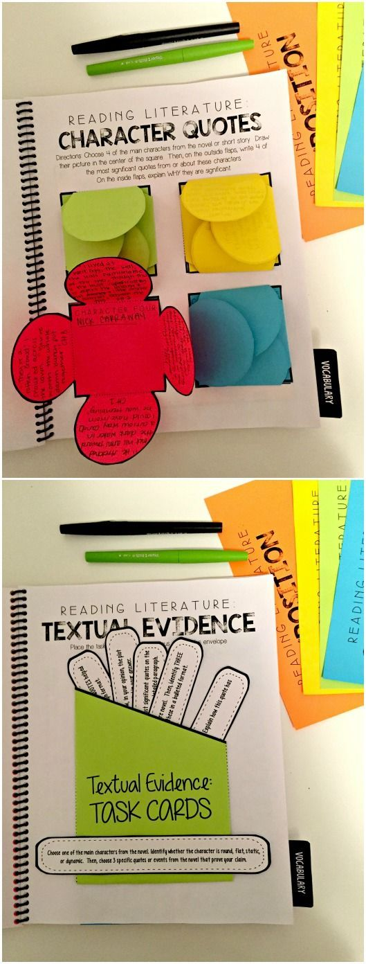 Reading Literature Interactive Notebook for grades 6-9! Specifically focuses on: character development, figurative language, plot development, citing textual evidence, and vocabulary! $