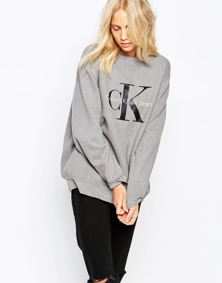 so cute! but that price plus any brokerage fees means i'll never own it haha//Calvin Klein Jeans Logo Sweatshirt