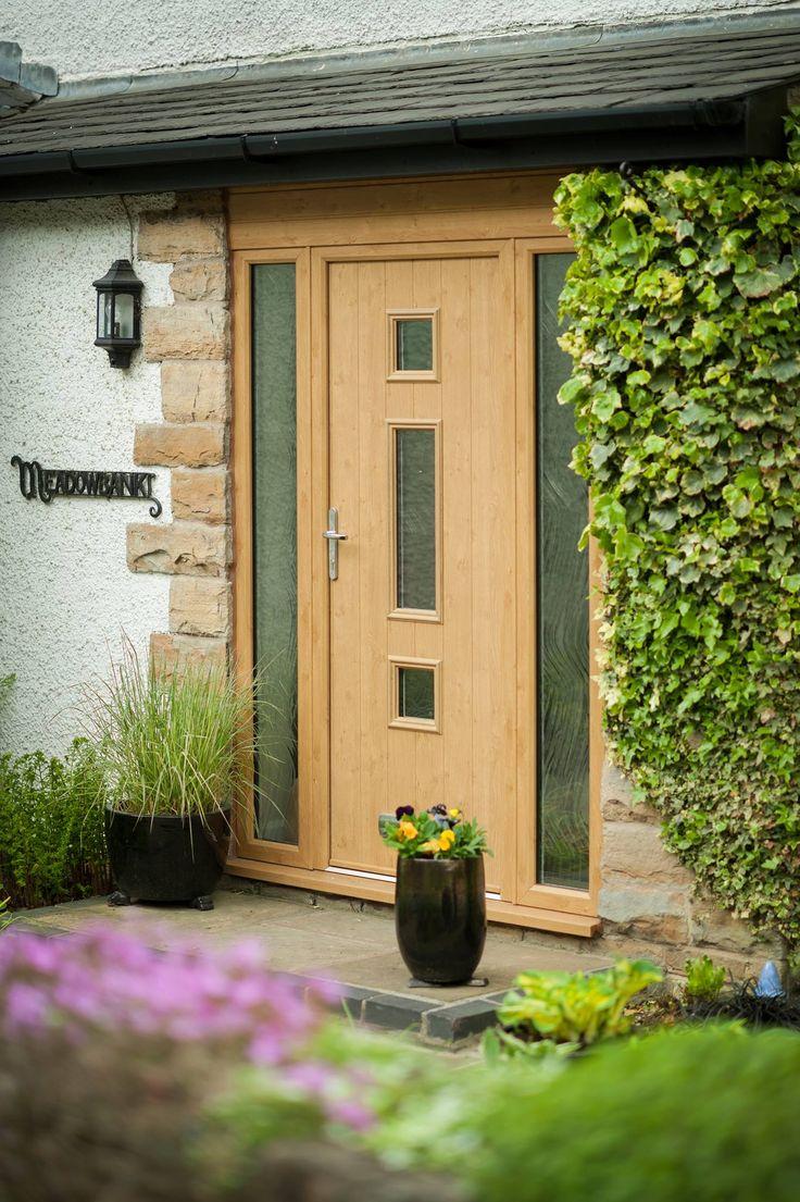 Wooden front doors with side panels - Solidor Composite Door In Irish Oak Front Door And Side Panels Full Length