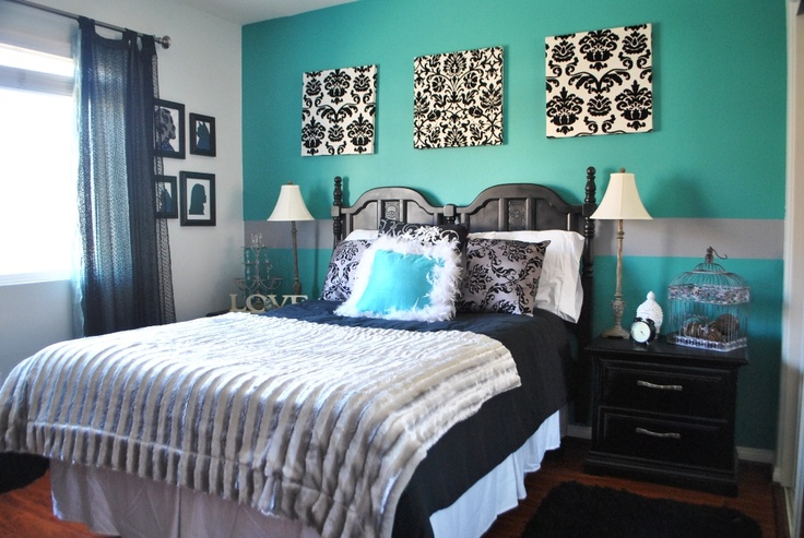 Turquoise And Black Guest Bedroom I Made The Curtains Silhouettes And Spray Painted My Parent