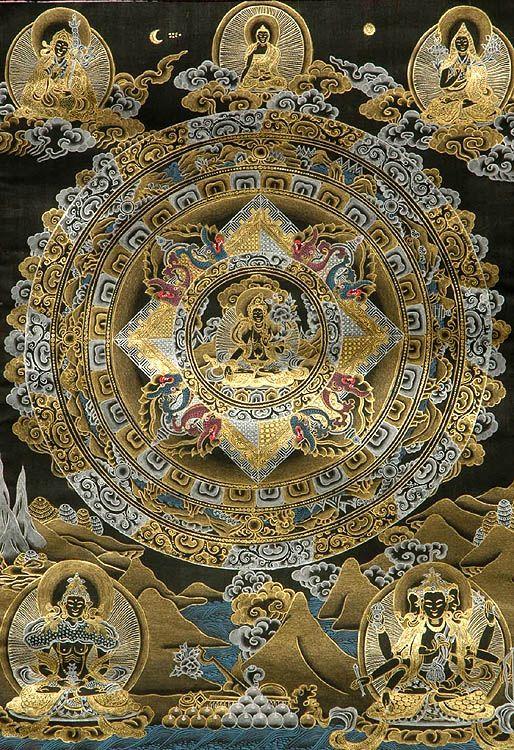 mandala: Buddhists Mandala, Black Thangka, Chenrezig Mandala, White Country, Tibetan Buddhists, Golden Mandala, Black Mandala, Mandala Tibetian, Esot Black