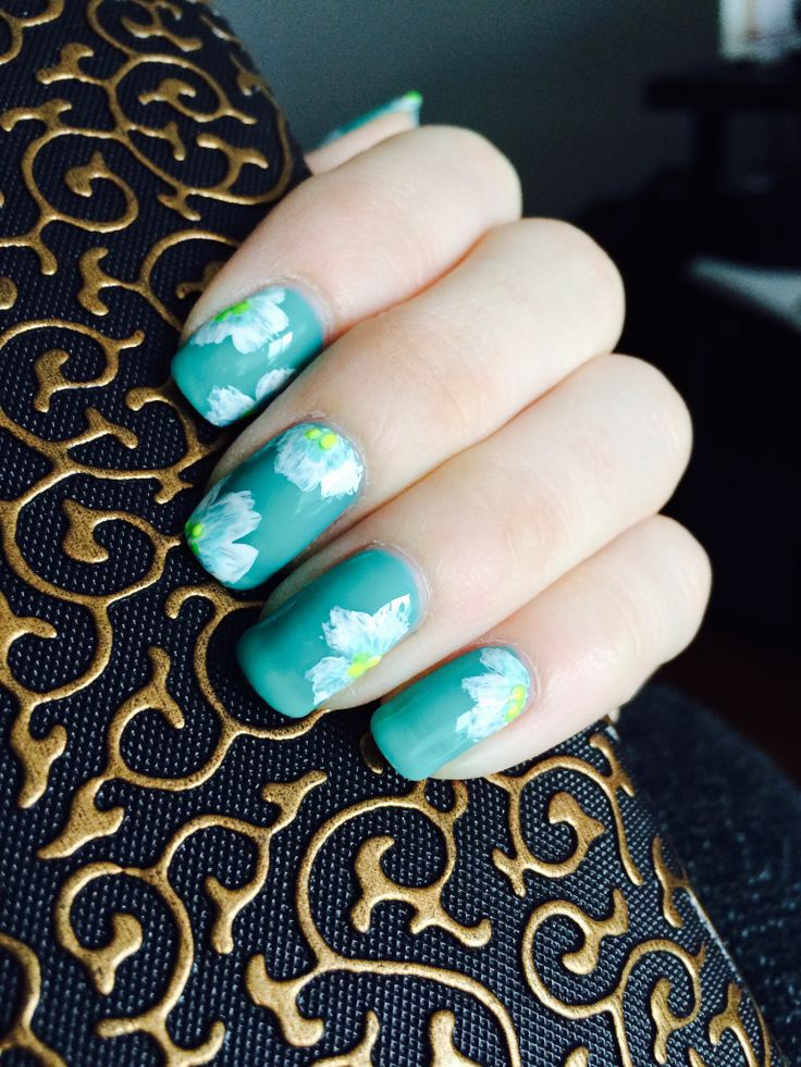 Gelish teal nails with hand painted flowers by S.Doherty