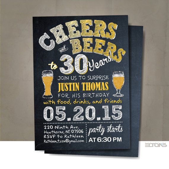 Beer Birthday Party Printable invitation / 30th by BlueTulipStudio