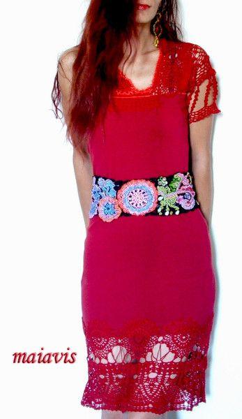 Corset Belts – Belt Corset Crochet Colourful – a unique product by maiavis on DaWanda