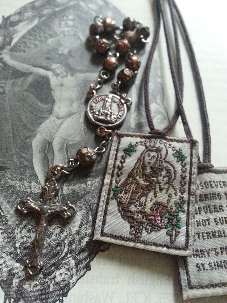 """Rosary chaplet and scapular.  """"Heaven is not a place beyond the stars, but something much greater, something that requires far more audacity to assert: Heaven means that man now has a place in God."""" ~ Pope Benedict XVI"""