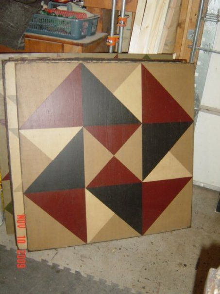 PriMiTiVe HandPainted Barn Quilt Framed 2' x 2' Card by CrowCorner, $75.00