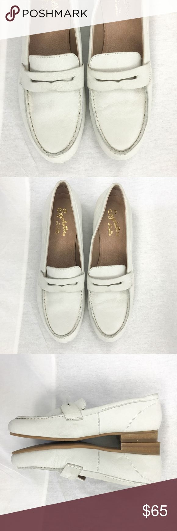 """Seychelles Size 7 Tigers Eye Leather Loafers White Anthropologie Seychelles Campaign 7 Weekenders Tigers Eye Leather Loafer White  Type: Flat Shoe  Style: Loafer  Brand: Seychelles  Material: Leather Upper  Color: Off White  Measurements: Heel 3/4""""  Condition: There is scuffing and marks on the heels and wrinkling on the straps.  Country of Manufacturer: India Seychelles Shoes Flats & Loafers"""