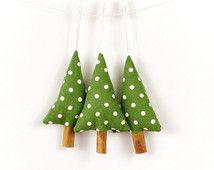 Rustic Christmas Decorations Green Polka Dot Linen Cinnamon Trees