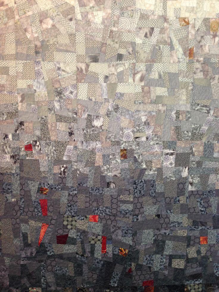 Untitled by Sue Pedersen, 3'x5' scrap quilt mounted on canvas frame