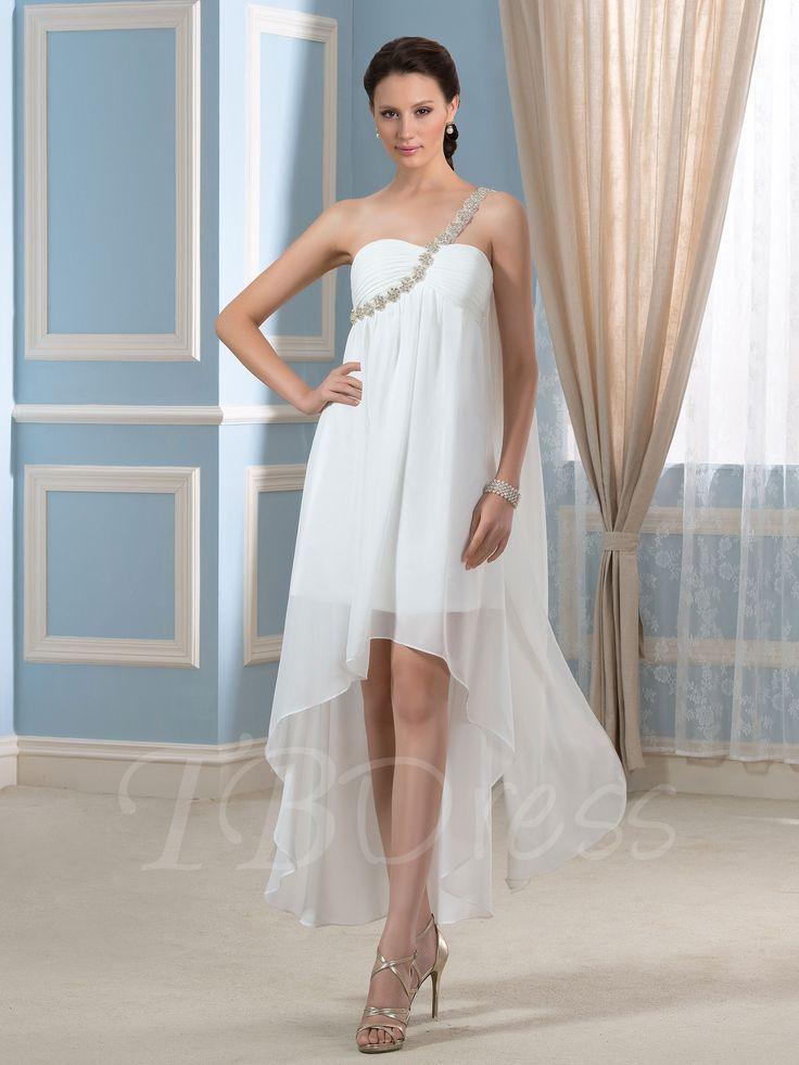 Asymmetry Hi Lo Beaded One Shoulder Short Beach Wedding Dress