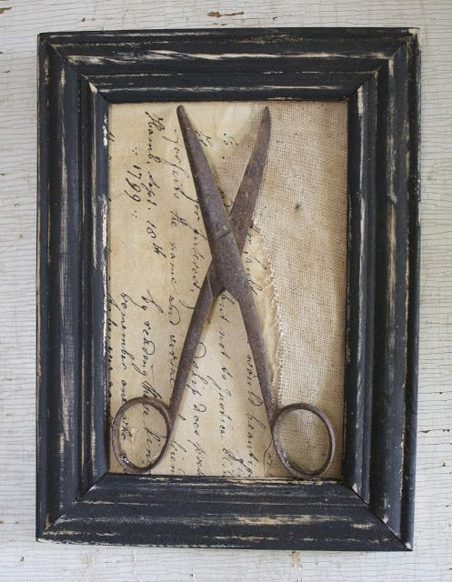 Framed Vintage Scissors on Aged Paper & Cheesecloth