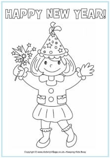 2013 Happy New Year coloring pages. Nice collection for children. Helpful for teaching about the change in dates, or just for fun!