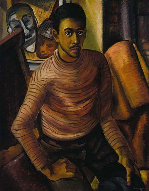 Self-Portrait, 1934, Malvin Gray Johnson, oil on canvas, 38 1/4 x 30 in. (97.2 x 76.2 cm.), Smithsonian American Art Museum, Gift of the Harmon Foundation, 1967.57.30