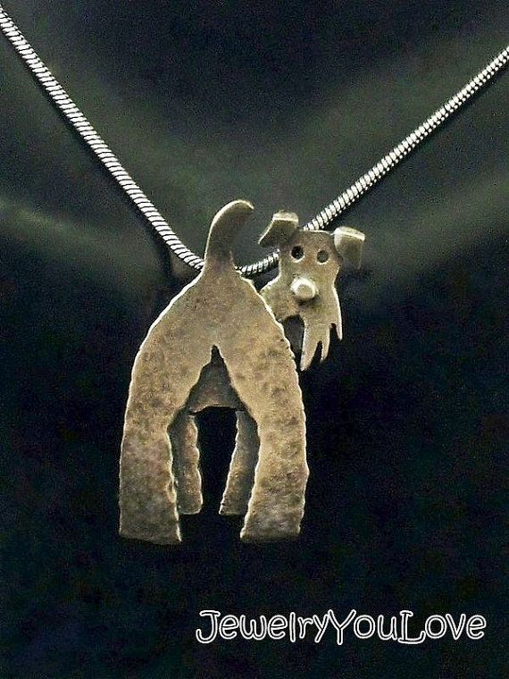 Sterling Silver Wire Fox Terrier Necklace por JYLbyPeekaliu