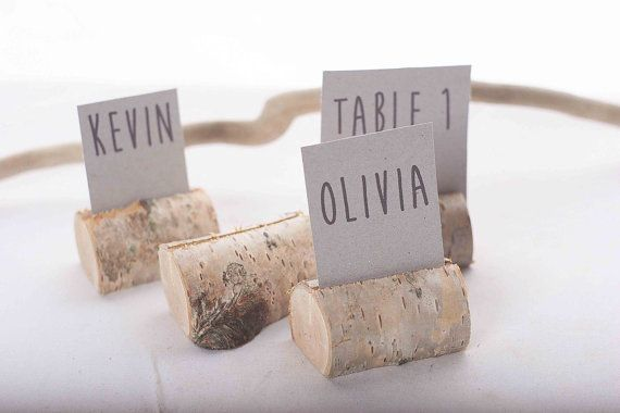 25 pieces rustic place card holders, Wedding placecard, name holdes, birch tree on Etsy, $25.00