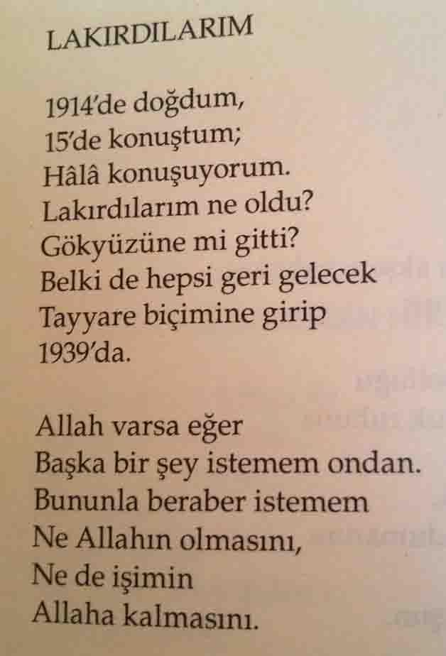 Lakırdılarım - Orhan Veli - Şiir Alıntıları