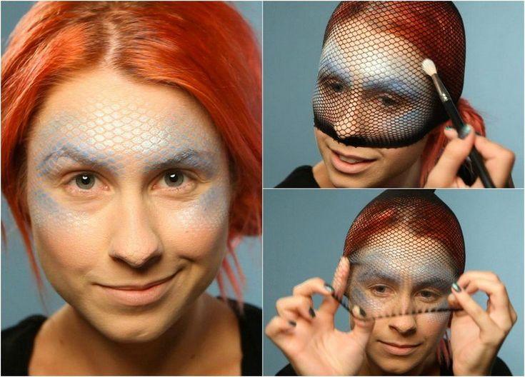 maquillage Halloween femme visage d'une sirène