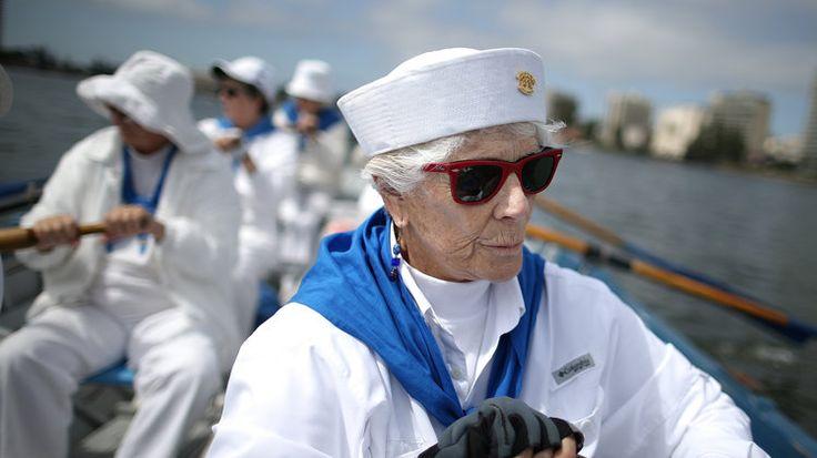 Oakland Women's Rowing Club member Elizabeth Clark rows on Lake Merritt on July 31, 2013. by Justin Sullivan/Getty Images