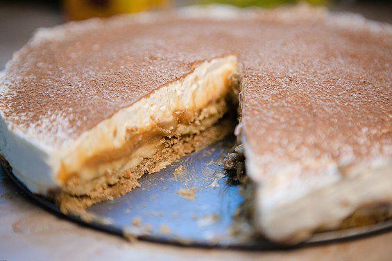 Banoffi-Je to vynikajúci dezert, ktorý keď ochutnáte, určite mi dáte za pravdu. Suroviny  75 gramov korenených (zázvorových) sušienok 75 g Bebe keksov 100 g masla 2 banány 250 g vareného kondenzovaného mlieka 200 g Mascarpone 50 g cukru 400 ml šľahačky Kakao Práškový cukor