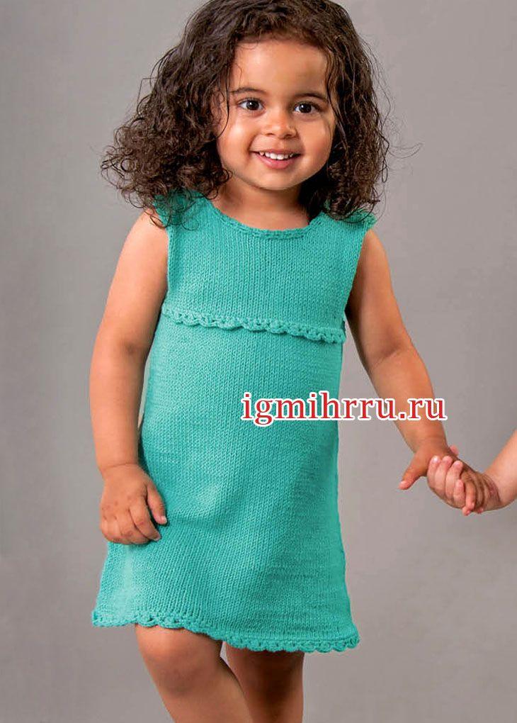 Летнее зеленое платье для маленькой девочки. Вязание спицами для детей