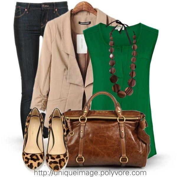 jeans, khaki blazer, green top, leopard flats