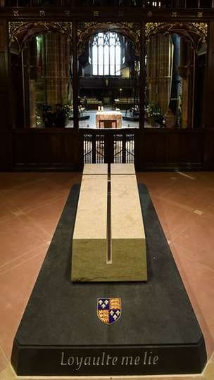 "The sealed tomb of King Richard III has been unveiled in Leicester Cathedral. The tomb plinth bears the king's motto ""Loyalty binds me"""