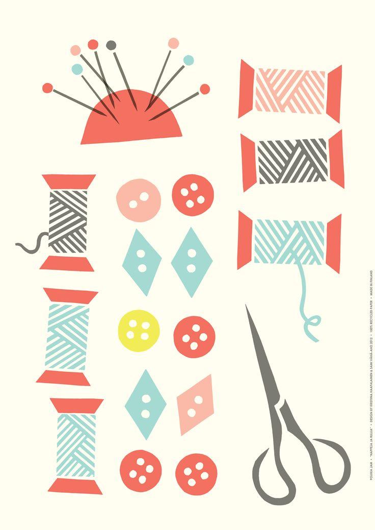 Napit ja rullat poster, white. Design by Polkka Jam 2012.